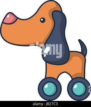 Dog toy on wheels icon, cartoon style - Stock Photo