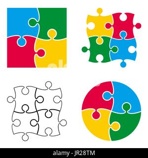 Vector puzzle pattern isolated on white background - Stock Photo