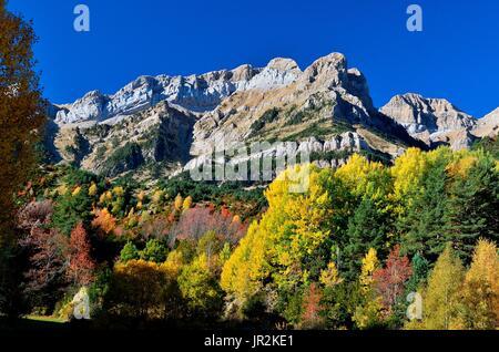 Pena Telera in autumn, Tena valley, Pyrenees, Aragon, Spain - Stock Photo