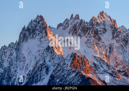 Les Aiguilles de Chamonix in autumn from Les Cheserys, in the Aiguilles Rouges mountain range, Haute Savoie, Mont - Stock Photo