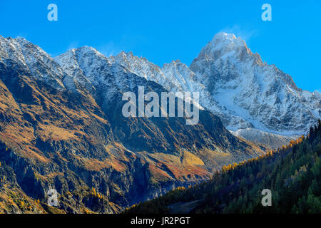 The Aiguille d'Argentiere in autumn from the Chamonix Valley, Mont Blanc Massif, Haute Savoie, Alps, France - Stock Photo