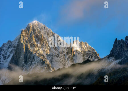 The Aiguille Verte and the Drus in autumn from Les Houches, Chamonix Valley, Haute Savoie, Alps, France - Stock Photo