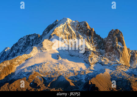 The Aiguille Verte and the Drus in autumn from Les Cheserys, Aiguilles Rouges Massif, Haute Savoie, Alps, France - Stock Photo