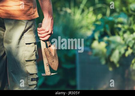 Work on the vegetable garden. Gardener holding hand trowel and small hoe. - Stock Photo