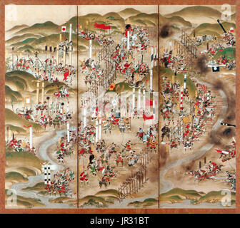 The Battle of Nagashino took place in 1575 near Nagashino Castle on the plain of Shitarabara in the Mikawa Province - Stock Photo