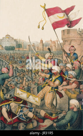 Romanticized illustration from 1832, shows Mehmed II leading his men over the walls of Constantinople while (bottom - Stock Photo