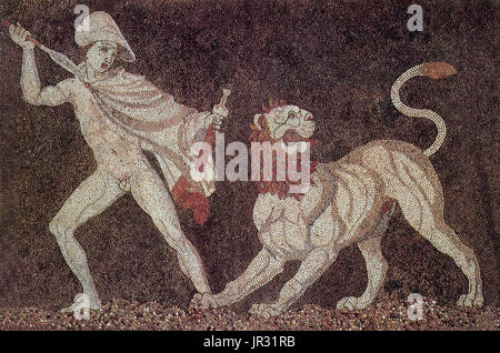 Detail of lion hunt mosaic from a wealthy home of the late 4th century BC, the 'House of Dionysos' at Pella, in - Stock Photo