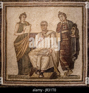 Virgil, wearing a toga and holding a scroll on his lap is attended by two Muses; Clio (history), stands on his left - Stock Photo