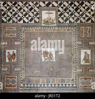 Theseus Mosaic from a Roman villa, Loigersfelder near Salzburg, Austria. According to the Greek myth, Ariadne, the - Stock Photo