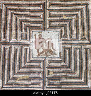 Detail of the Theseus Mosaic from a Roman villa, Loigersfelder near Salzburg, Austria. According to the Greek myth, - Stock Photo