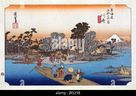 Mount Fuji,Rokugo River,1830s - Stock Photo
