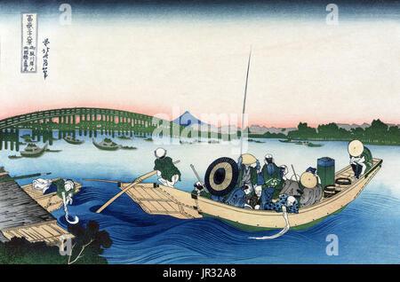 Mount Fuji,Ryogoku Bridge,1830s - Stock Photo