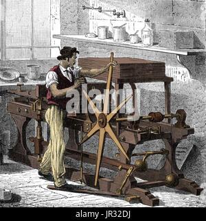 Intaglio,Copperplate Printing Press,1882 - Stock Photo