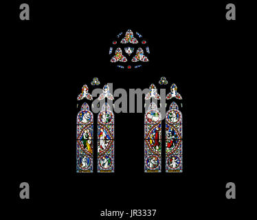 Stained glass windows in the Parish church of St Nicholas, Chawton, Hampshire, southern England, UK, burial place - Stock Photo