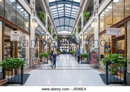 United States, North Carolina, Buncombe County, Asheville. Grove Arcade historic shopping mall in downtown Asheville. - Stock Photo