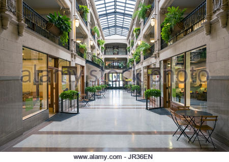 United States, North Carolina, Buncombe County, Asheville. Grove Arcade historic shopping mall in downtown Asheville.