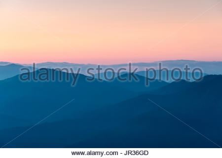 United States, North Carolina, Jackson County. Blue Ridge Mountains from Waterrock Knob at dawn, Blue Ridge Parkway. - Stock Photo