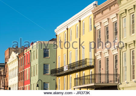 United States, Louisiana, New Orleans. French Quarter buildings on Decatur St. - Stock Photo