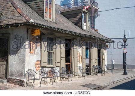 United States, Louisiana, New Orleans, French Quarter. Lafitte's Blacksmith Shop Bar on Bourbon Street. - Stock Photo