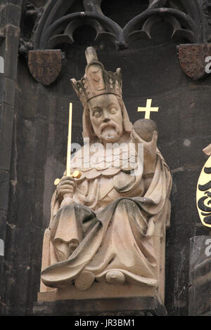 Holy Roman Emperor Charles IV. Copy of the Gothic statue by German-Bohemian architect and sculptor Peter Parler - Stock Photo