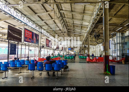 Yangon, Myanmar - Feb 13, 2017. People at waiting room of the Central Railway Station in Yangon, Myanmar. Yangon - Stock Photo
