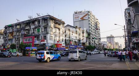 Yangon, Myanmar - Feb 13, 2017. Traffic on street at old town in Yangon, Myanmar. Yangon boasts the largest number - Stock Photo