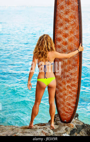 Beautiful surfer girl in bikini holding surf board stand on high cliff brink and look at ocean. Back view. People - Stock Photo