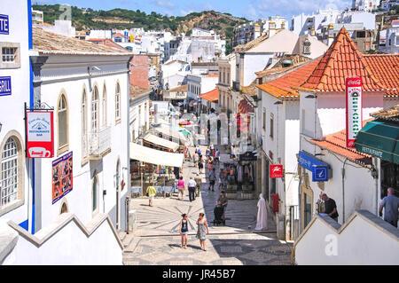 Pedestrianised Rua 5 de Outubro, Old Town, Albufeira, Albufeira Municipality, Faro District, Algarve Region, Portugal - Stock Photo