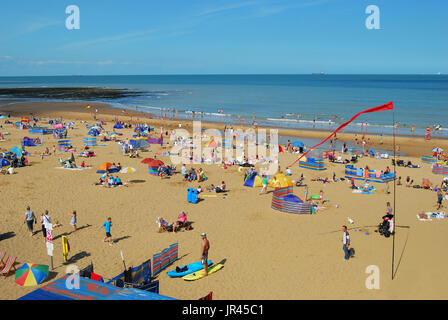 Sandy beach at Joss Bay, Broadstairs, Kent, England, United Kingdom - Stock Photo