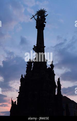 Holy Trinity Column (Sloup Nejsvětější Trojice) in Olomouc, Czech Republic, at night. - Stock Photo