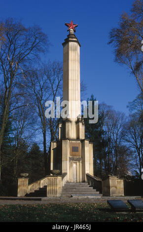 Soviet War Memorial in Olomouc, Czech Republic. The memorial to the Red Army soldiers fallen during the liberation - Stock Photo