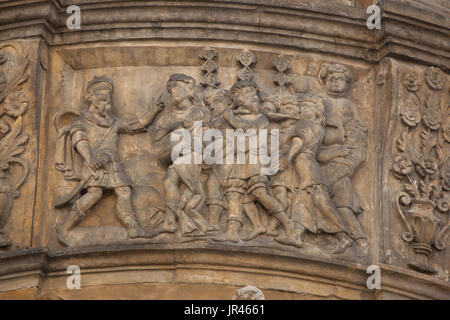 King Pentheus and Bacchus. Scene from the Metamorphoses by Roman poet Ovid depicted in the Renaissance relief on - Stock Photo