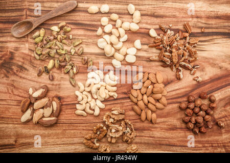 Selections of dried fruits or nuts in a jar - Stock Photo