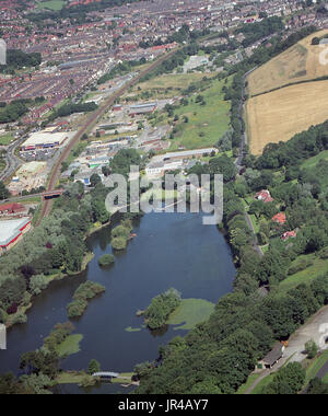 Aerial photo of the Mere on the A64 into Scarborough off Seamer Road - Stock Photo
