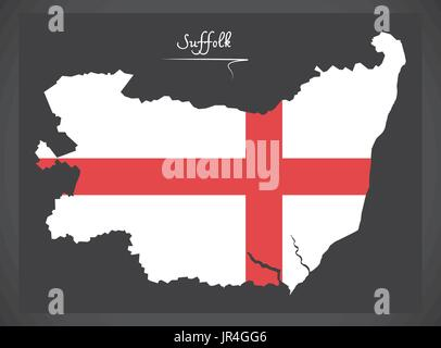 Suffolk map England UK with English national flag illustration - Stock Photo