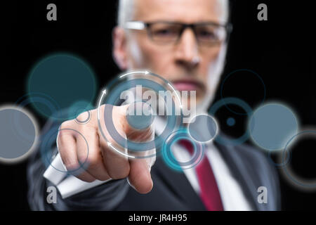 Businessman working with cloud computing diagram - Stock Photo