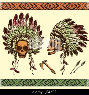 Vector illustration of human skull in native American Indian chief headdress with tomahawks - Stock Photo