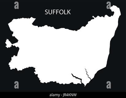 Suffolk England UK map black inverted silhouette illustration - Stock Photo