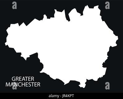 greater manchester england uk map black inverted silhouette illustration stock photo