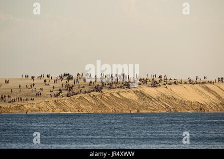 many people clamb on the big sand dune at the beach of Jericoacoara in Brasil - Stock Photo