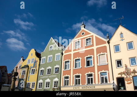 Traditional Architecture at Marienplatz, Weilheim in Oberbayern, Germany - Stock Photo