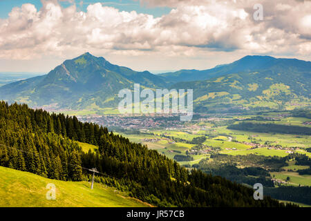 Village at mount Grünten in the bavarain alps (Germany) - Stock Photo