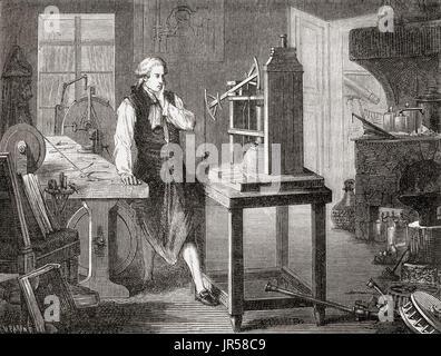 James Watt in his Glasgow workshop improving on Thomas Newcomen's 1712 Newcomen steam engine, with his Watt steam - Stock Photo