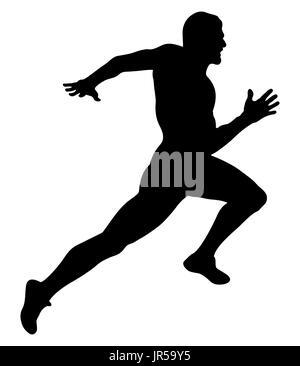 explosive running muscular sprinter runner black silhouette - Stock Photo