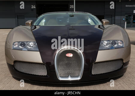 Front view of a 2007 Bugatti Veyron EB 16.4 on static display in the International Paddock at the 2017 Silverstone - Stock Photo
