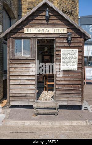 Recreation of Michael Faraday's hut, Trinity Buoy Wharf, London, UK, - Stock Photo