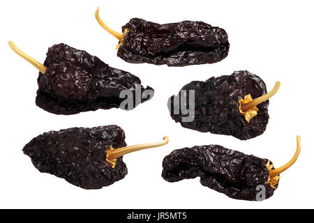 Ancho mulato - dark dried Poblano chile peppers, whole. Clipping path for each pod - Stock Photo