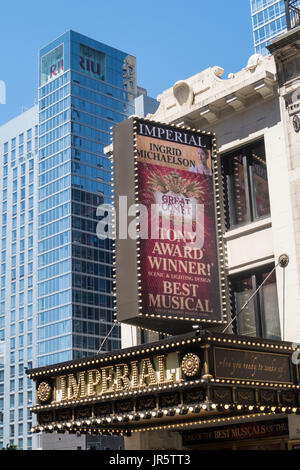 The Imperial Theater Facade and Marquee, Times Square, NYC, USA - Stock Photo