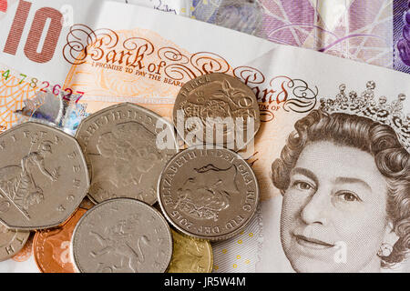 British English currency, coins and banknotes, UK sterling - Stock Photo