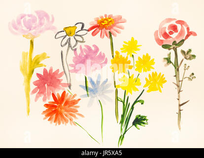 training drawing in suibokuga style with watercolor paints - various fresh flowers on ivory colored paper - Stock Photo